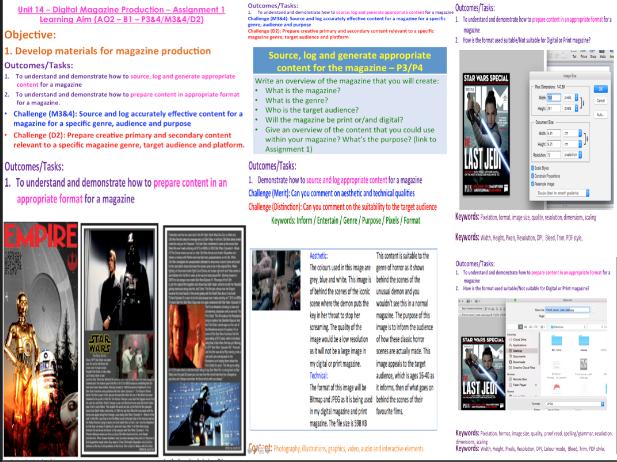 BTEC Level 3 Creative Digital Media Production - Unit 14 - Digital Magazine Production (B1/B2)