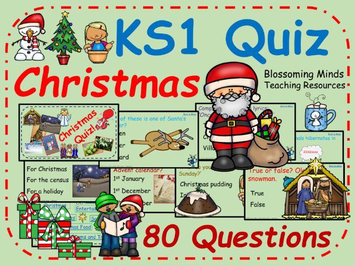 KS1 End of Term Christmas Quiz - 80 questions