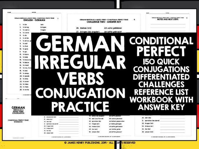 GERMAN IRREGULAR VERBS CONDITIONAL PERFECT CONJUGATION
