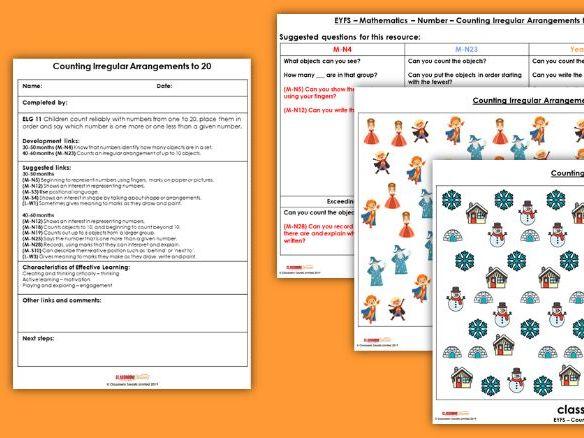 EYFS Maths EYFS Counting Irregular Arrangements (to 20) Planning, Resources & Observation Pack