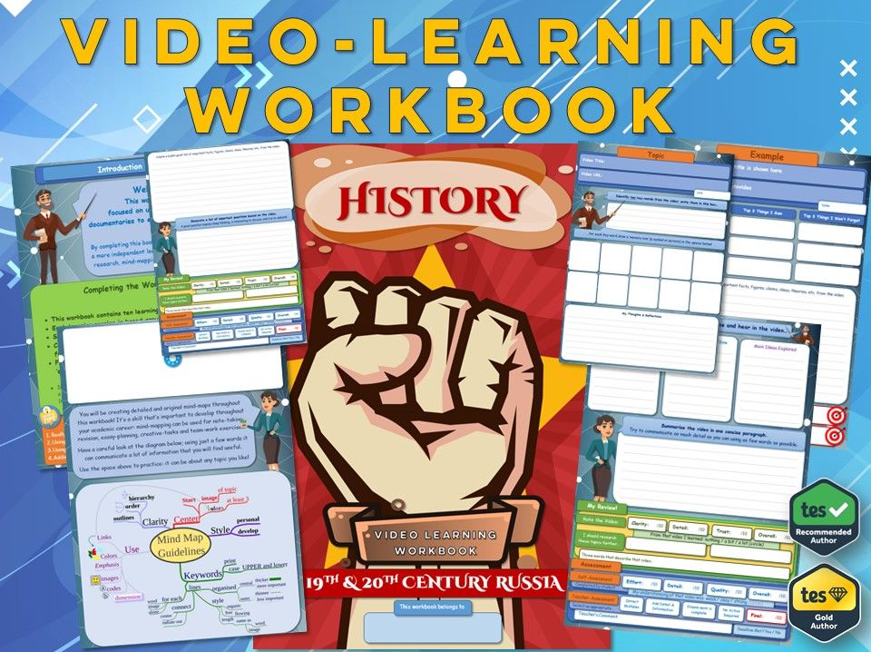 Russia in the 19th & 20th Century- KS3 History - Workbook [Video-Learning Workbook]  Revolution USSR