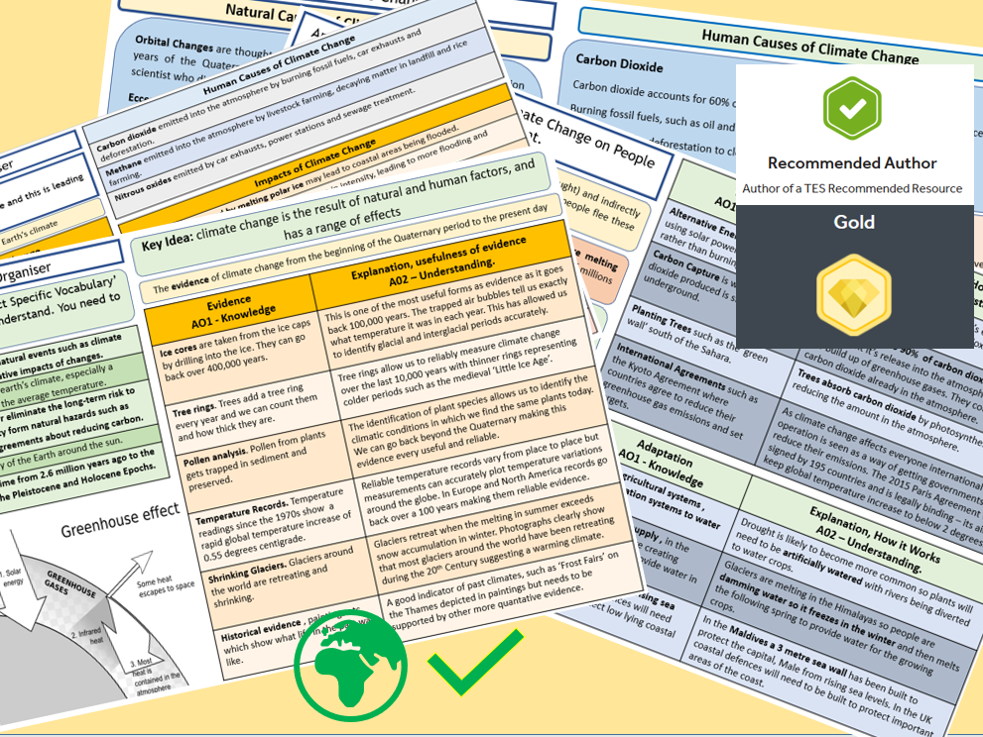 GCSE AQA 9-1 Climate Change , Global Warming,  Knowledge Organisers and Revision Summaries.