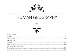 CIE Human Geography AS Notes