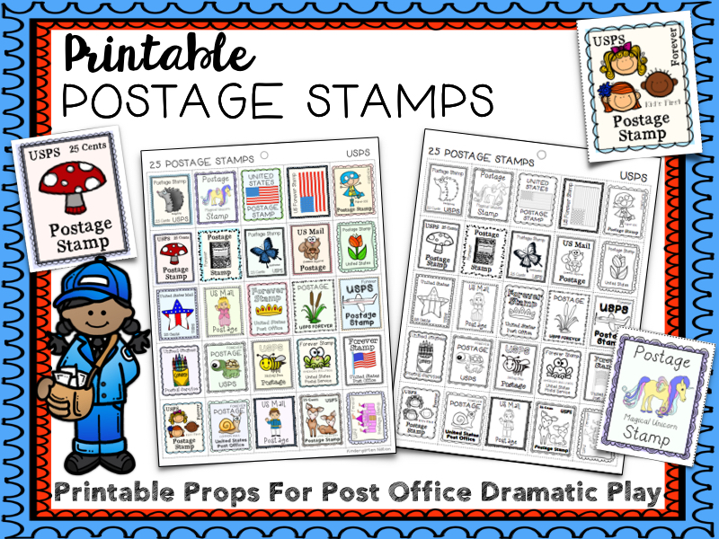 Printable Postage Stamps, Community Helpers, Post Office, Dramatic Play Props