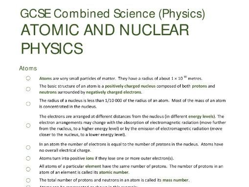 ATOMIC STRUCTURE unit summary/checklist for AQA GCSE Combined Science: Trilogy (Physics)