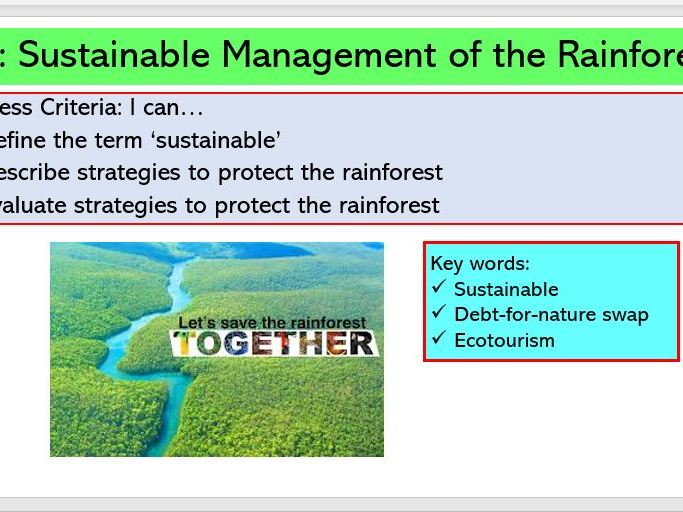 L7. Sustainable Management of the Rainforest
