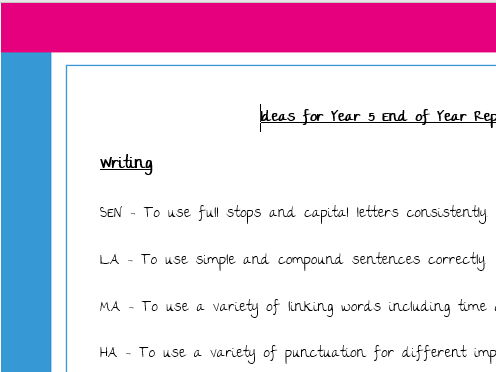 EOY Y5 Targets for Reading, writing and maths - great for reports - differentiated