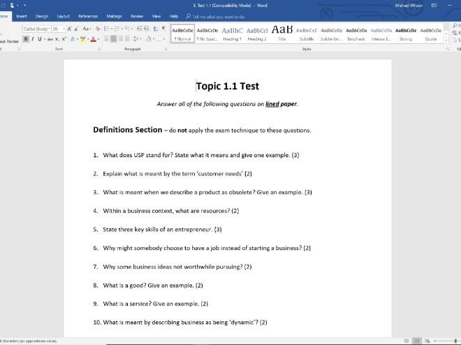End of Topic Test - Topic 1.1 - Edexcel GCSE Business