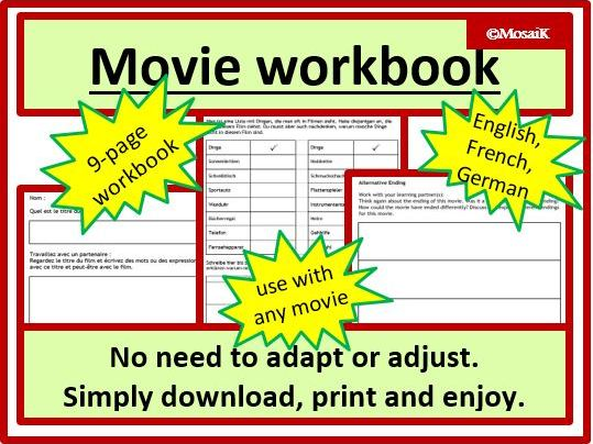 English movie, French movie, German movie - 3 workbooks: generic, self-adapting and versatile. Film