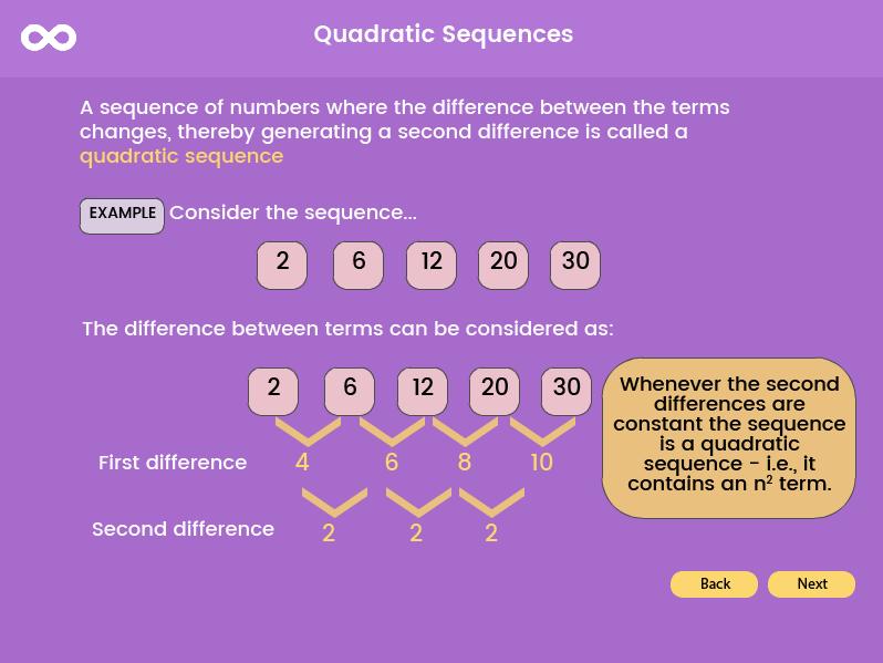 Quadratic Sequence Higher- GCSE (5-9), (US 9th grade - 10th grade)