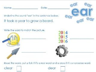 Phonics Phase 3 'ear' sound worksheet