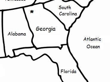 GEORGIA (U.S. State) - Printable handout with map and flag
