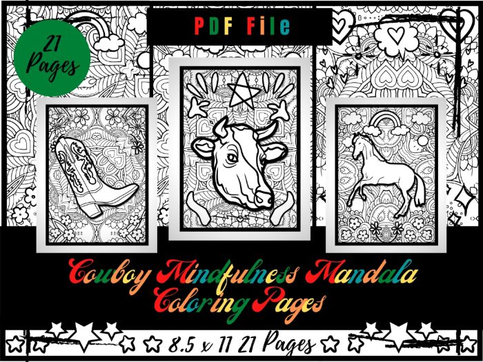 Cowboy Mindfulness Mandala Colouring Pages, Kids Relaxing Printable Sheets PDF