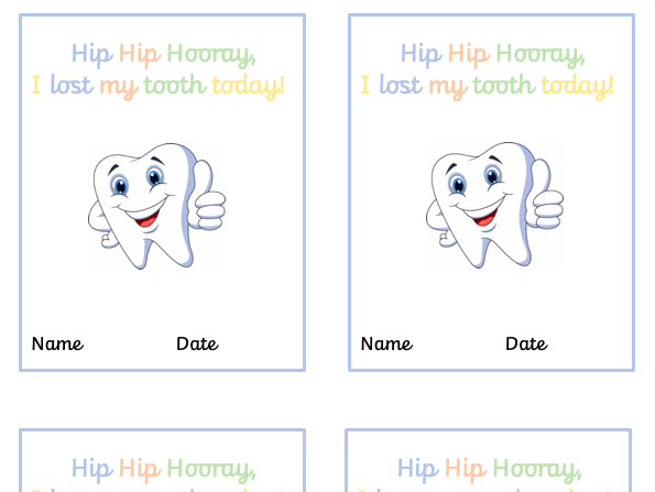 I Lost a Tooth Today Labels