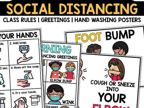 Social Distancing Greetings Rules and Hand Washing Posters