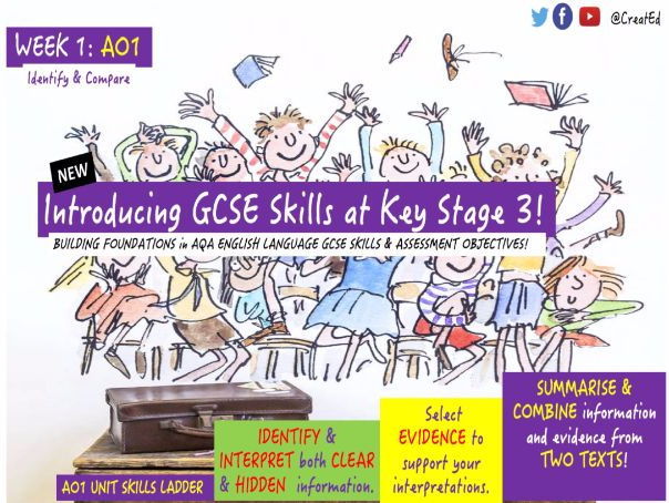 Building Foundations at Key Stage 3 in NEW English GCSE Skills 3 x WEEK BUNDLE, AO1 & AO2!