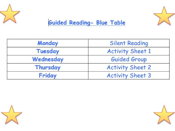 Guided Reading Timetable and Activities KS2