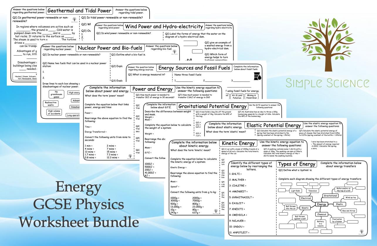GCSE Physics Paper 1 - Energy Worksheet Bundle