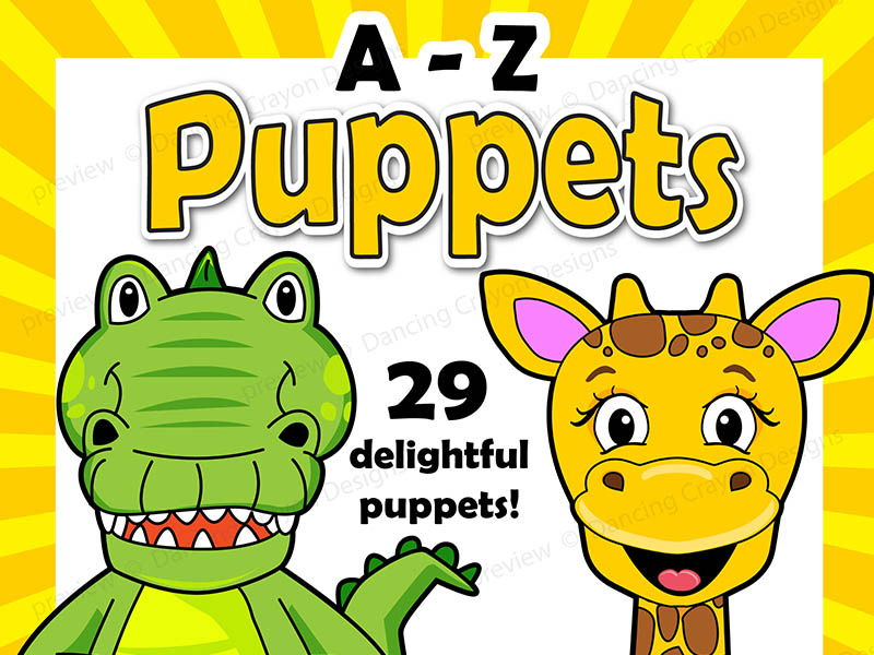 photo about Printable Paper Bag Puppets called Alphabet Craft Video game - A - Z Animal Puppets - Paper Bag Puppet Templates