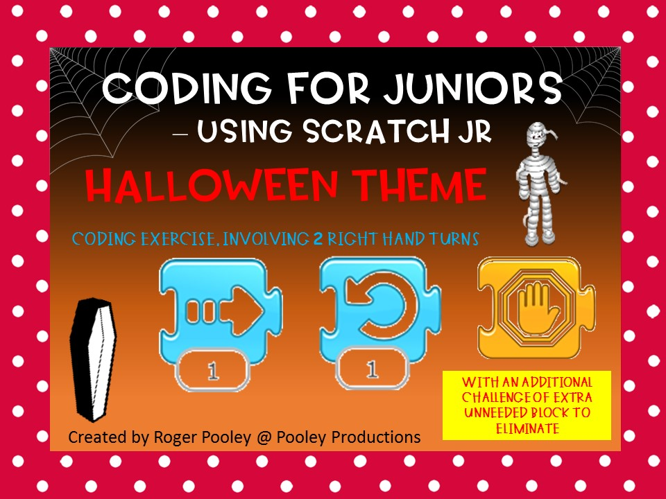 Halloween Coding for Juniors - Using Scratch Jr, making turns, 1 block too many challenge