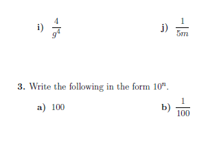 Negative indices worksheets  (with solutions)