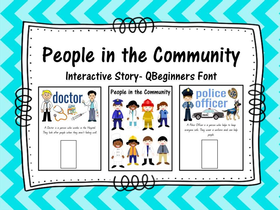 Community Helpers Interactive Story- QBeginners Font