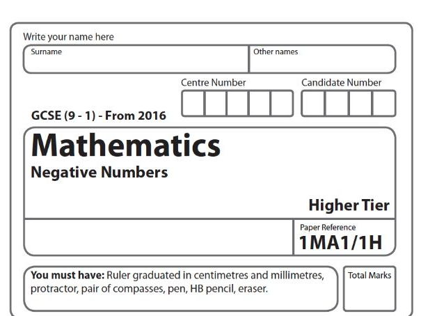 Maths GCSE Exam Style Paper - Negative Numbers