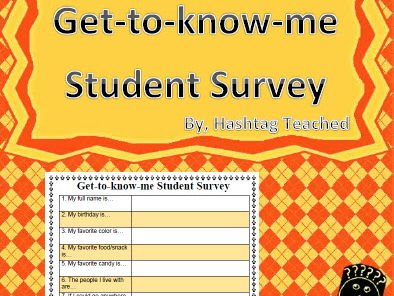 Get to Know Me Student Survey (beginning of the year data)