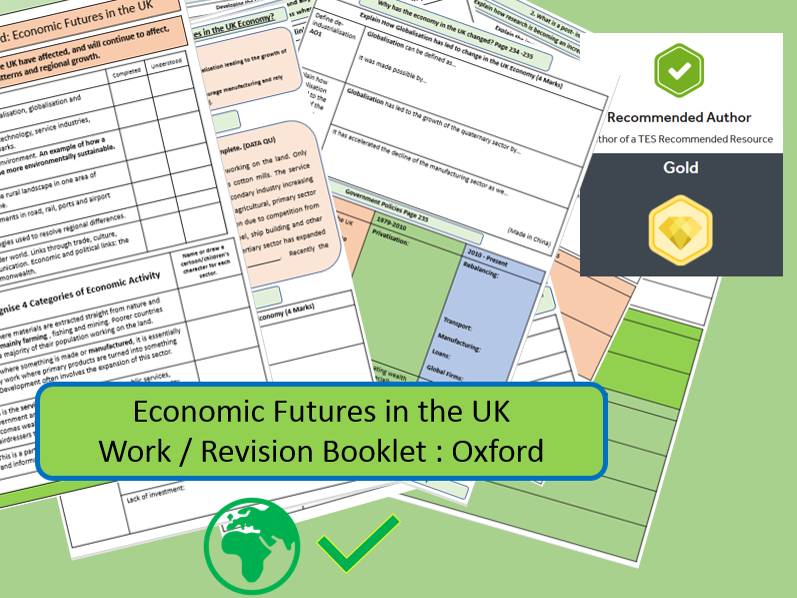 AQA 9-1 Economic World - The UK. Revision / Work Book using the Oxford Textbook.