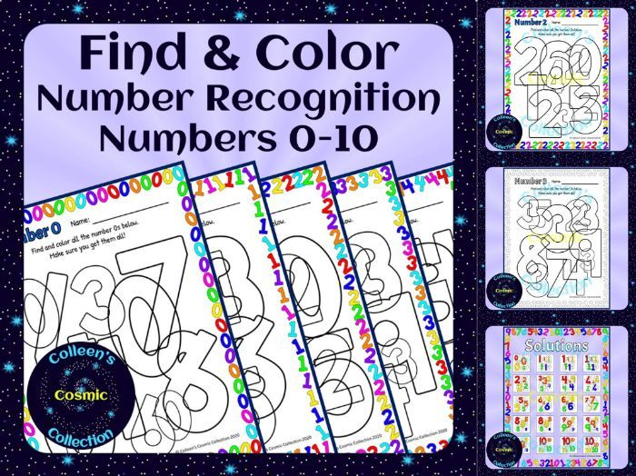 Number Recognition Find and Color for Numbers 0-10 (US version)