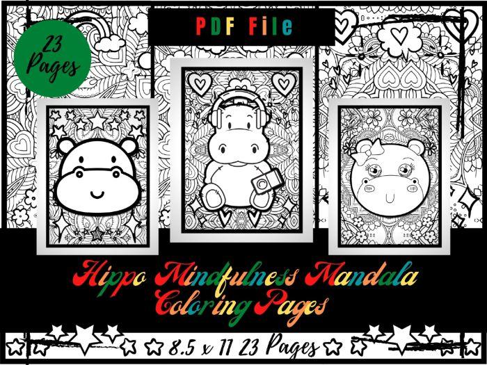 Hippos Mindfulness Mandala Colouring Pages, Animals Coloring Printable Sheets PDF