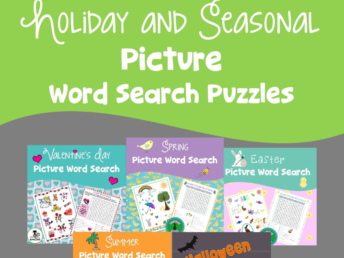 Holiday and Seasonal Picture Word Search Puzzles