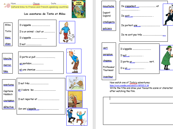Tintin Cultural links to French speaking countries KS2