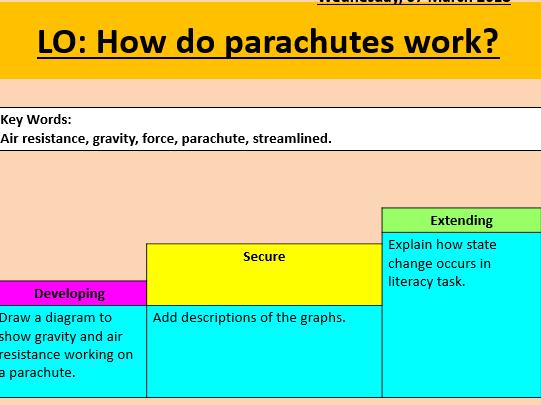 Parachutes/ air resistance lesson