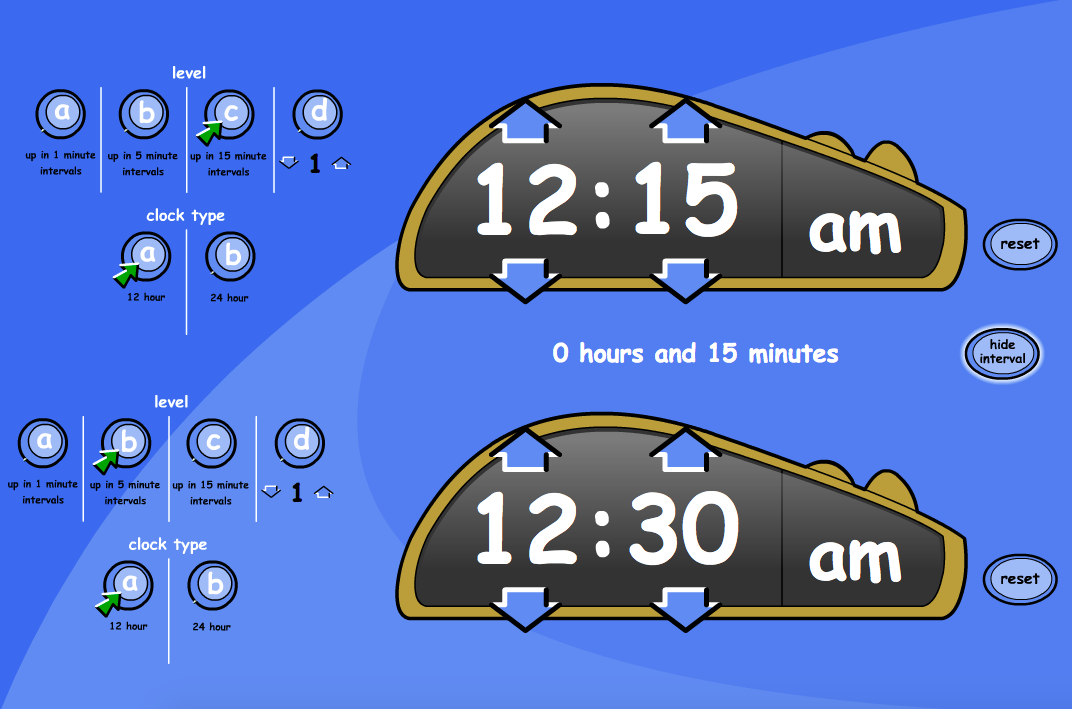 Compare Digital Clocks - Interactive Tool - KS1/KS2 Measurement