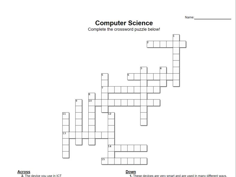 Computer Science Crossword