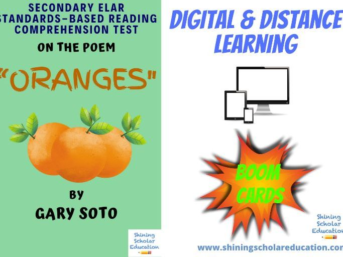 """Oranges"" by Gary Soto *ONLINE* (BOOM CARDS) Analysis Comprehension Test"