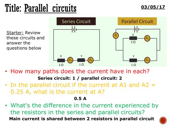 Parallel circuits - complete lesson (KS4)
