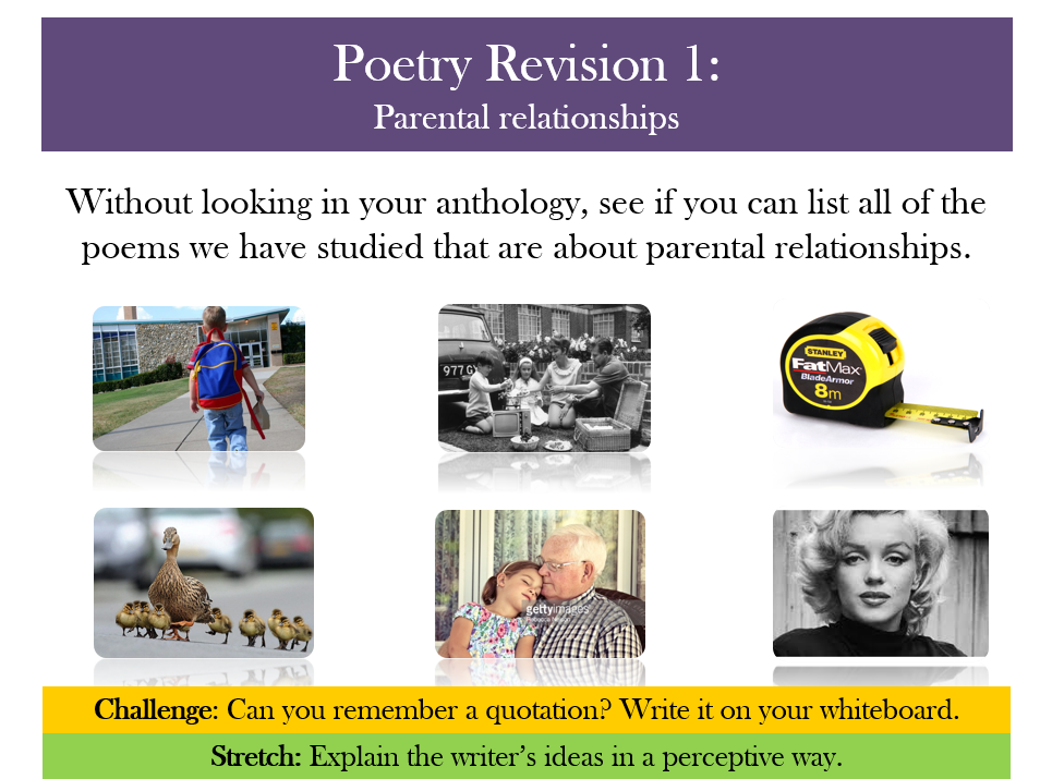 GCSE revision: Relationships poetry