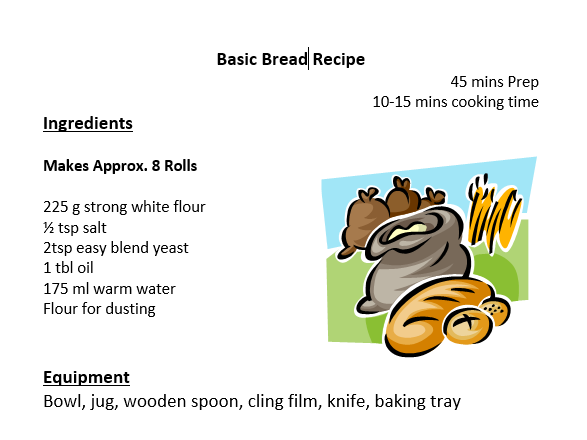 3x Bread Student Recipe Method Sheets - Food Technology & Catering - Bread rolls. cinnamon bun pizza