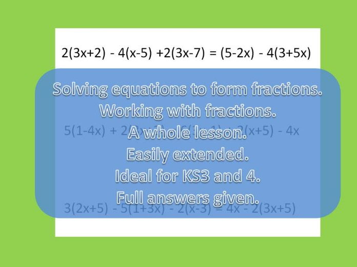 Solving equations with brackets and adding fractions