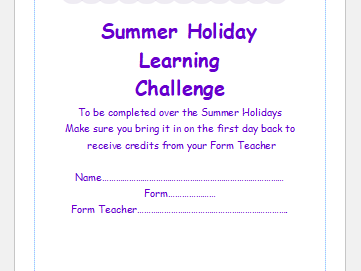 Yr 6 Transition booklet for Summer Holidays