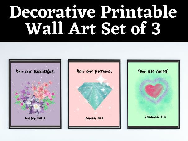 Decorative Pastel Colored Affirmative Printable Wall Art for Frame or Poster