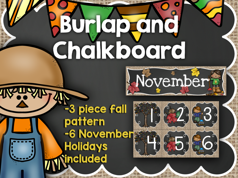 November Calendar: Burlap and Chalkboard