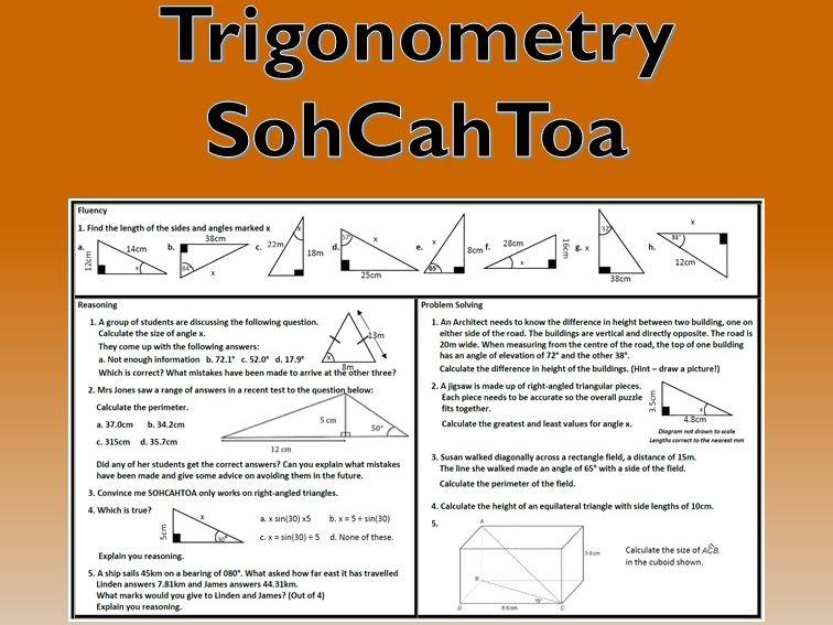 Trigonometry SOHCAHTOA Problem Solving Mastery Worksheet