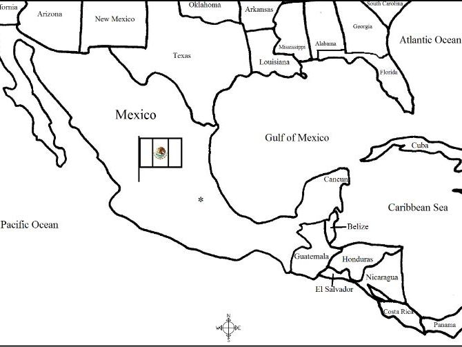 Mexico - Printable handouts with a map and flag