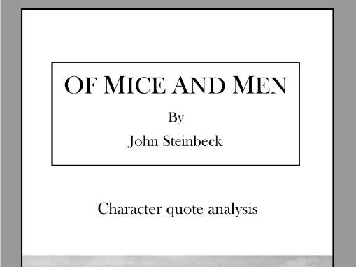 'Of Mice and Men' quote analysis workbook