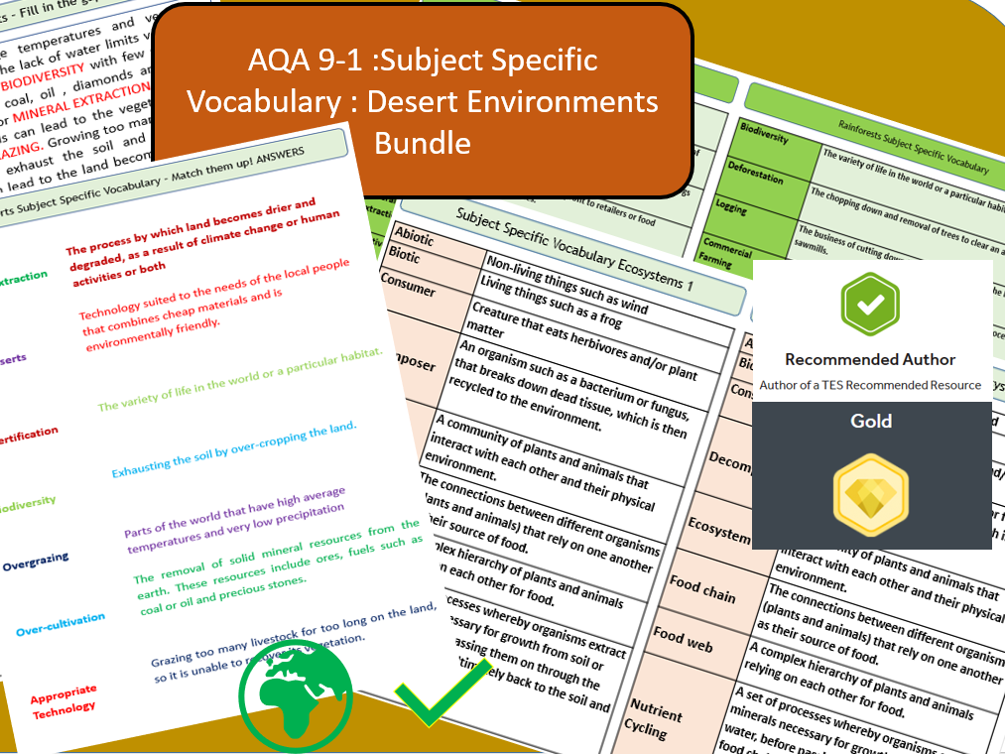 AQA 9-1 - Ecosystems, Hot Deserts Option, Key Vocabulary Literacy Activity Sheets.