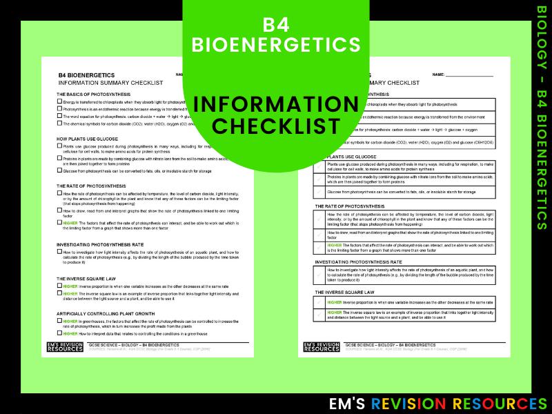 B4 Bioenergetics [Information Checklist]