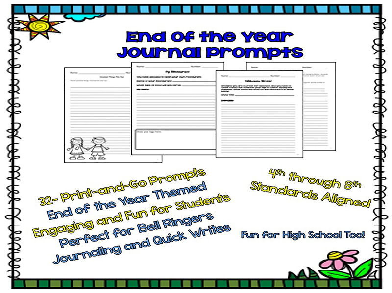 End of the Year Themed Journal Prompts, Bell Ringers, Warm-Ups 4th-8th